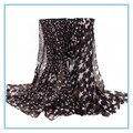 180*100 cms Estrellas Impresión Crumple Voile Bufanda Mujeres Chales Al Por Mayor Negro Hijab Bufandas Echarpe Foulard Femme Infinty Cape