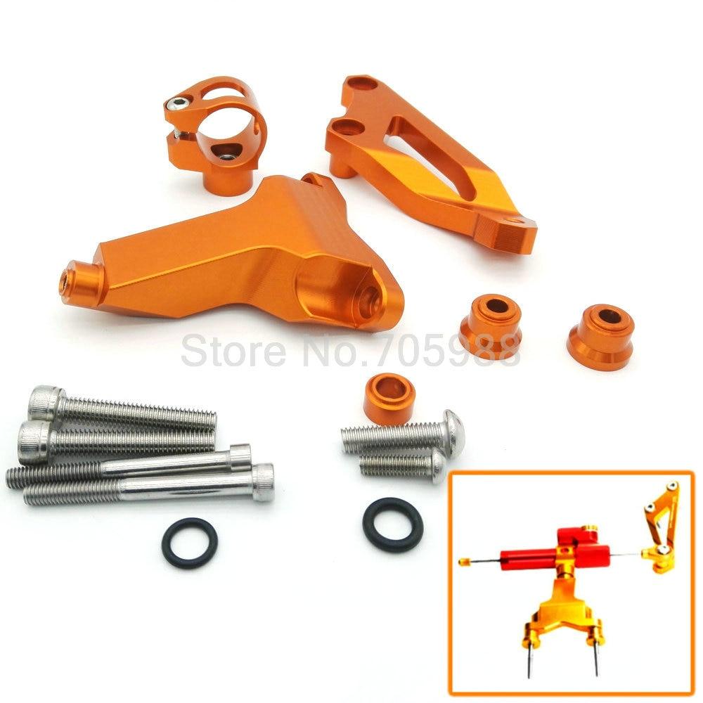 ФОТО Super quality CNC Aluminum Orange Alloy Accessories Motorcycle Steering Damper Bracket Kit For KTM DUKE 125/200/390 13-15