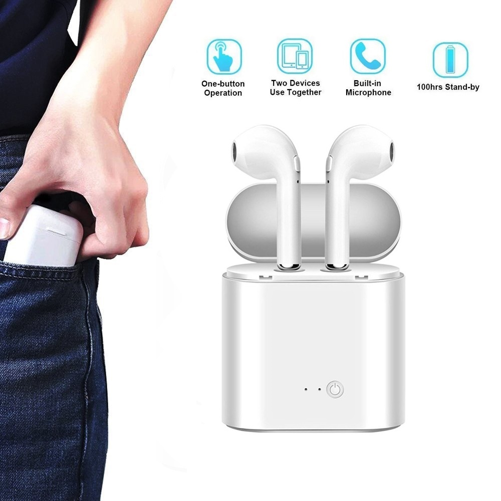 Wireless Bluetooth earphone Headphones i7 <font><b>tws</b></font> sport Wireless Earphones With Charging Box for Apple phone bluetooth headsets image