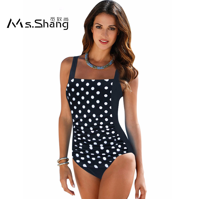 2017 Plus Size Swimwear Swimsuit Solid Retro Vintage One Piece Swimsuit Large Bathing Suit Padded Push Up Swimming Suits Women black solid plus size swimwear sexy women one piece swimsuit high waist push up bathing suit retro tankini large size dress