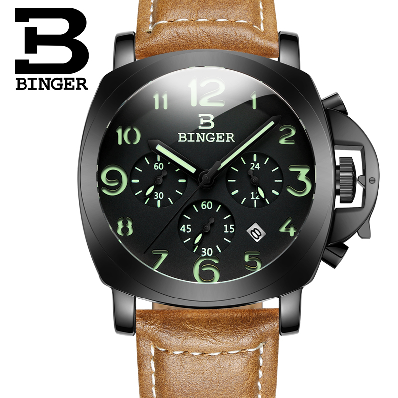 Original BINGER PAN Style Luxury Quartz Watch + Chronograph & Genuine Leather Band 1