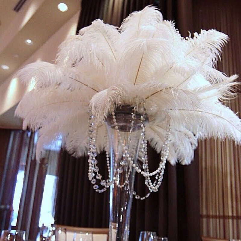 Small Event Decor: Wholesale 50pcs 35 40cm/14 To16'' White Ostrich Plumes