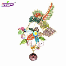 Trendy Hummingbird Bird Brooch Pins Rhinestone Crystals Broach Pins Women Brooches Jewelry Hat/bag/shoe Accessories 6385