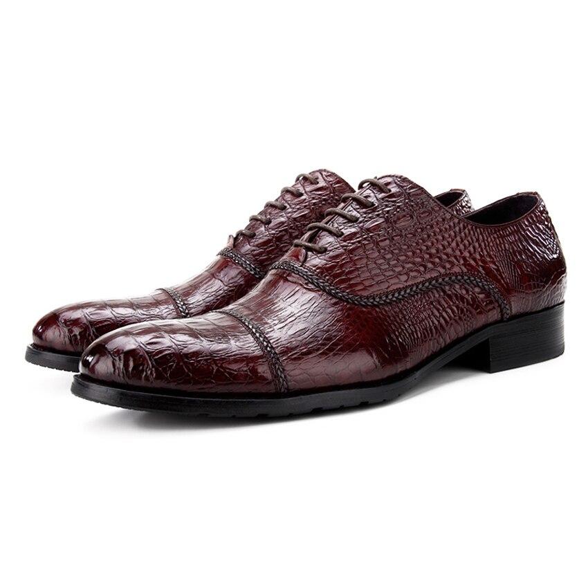 Luxury Designer Genuine Leather Mens Alligator Print Oxfords Formal Dress Round Toe Man Wedding Flats Male Handmade Shoes BQL95