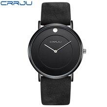 Super delgada de Cuarzo Reloj Casual de Negocios CRRJU Marca de Fábrica Superior de Cuero Genuino Analógico Reloj Deportivo hombres 2016 Relogio masculino