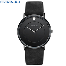 Super slim Quartz Casual Wristwatch Business CRRJU Top Brand Genuine Leather Analog Sports Watch Men's 2016 Relogio Masculino