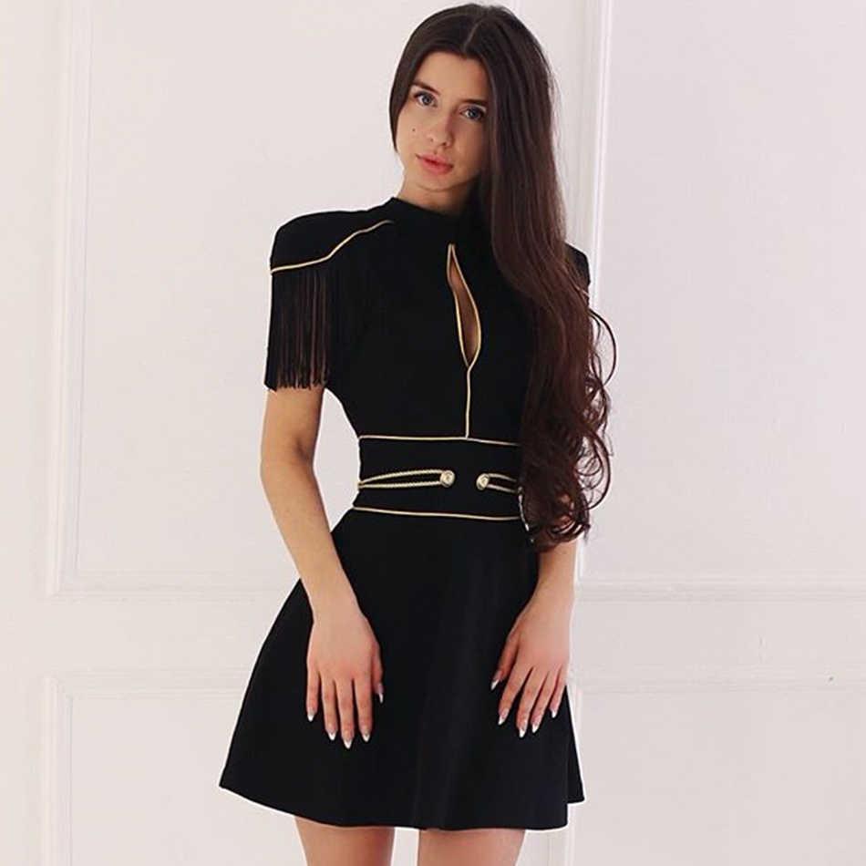 Seamyla/2019 Модные женские бандажные платья, Vestidos, новое вечернее платье с кисточками, Клубное летнее платье черного цвета