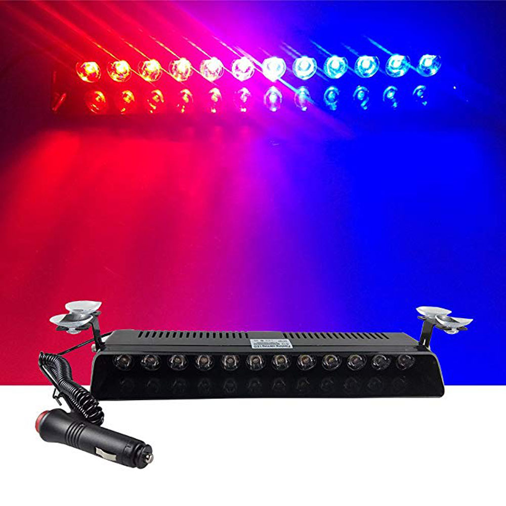 Car LED Emergency Strobe Flash Warning Light DC 12V 12 LED 12W Police Flashing Lights Red and Blue Amber White Red Car styling