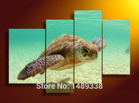 4 Panel Free Shipping Turtles In The Blue Sea Oil Paintings Canvas Arts For Friends Gift