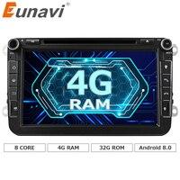 Eunavi 2 din Android 8.0 VW Passat için Octa Çekirdek 4 GB RAM Araba DVD CC Polo GOLF 5 6 Touran EOS T5 Sharan Jetta Tiguan GPS Radyo bt