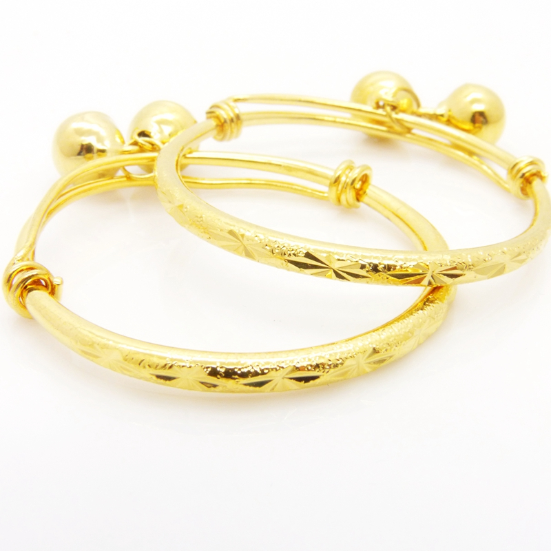 2pcs Baby Gift Bracelet Yellow Gold Filled Childrens Expandable Bangle Birthday Gift