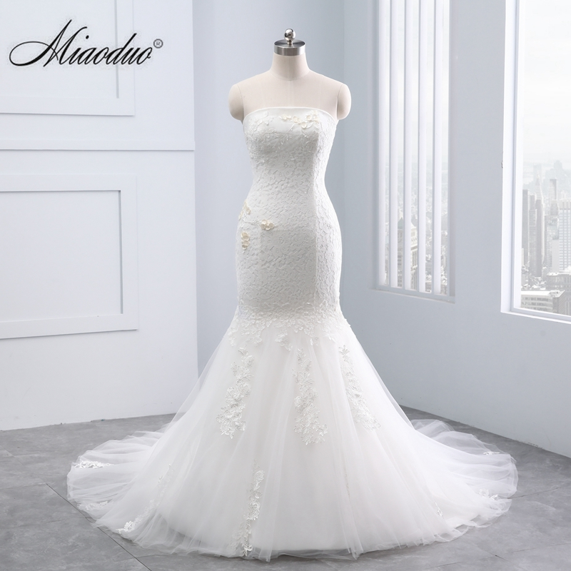 2019 Simple Strapless Lace Wedding Dresses Mermaid femme robe mariage brides dresses for weddings Miaoduo designs Custom Made