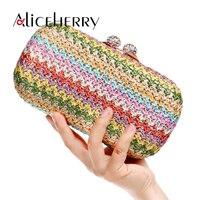 Women Straw Bag Diamond Crystal Handbag Box Lady Vintage Crossbody Handmade Kintted Shoulder Clutch Party Bags