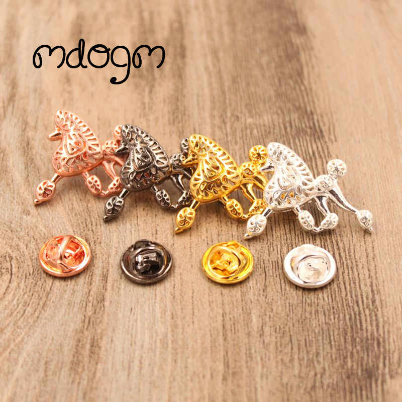 Mdogm 2019 Poodle Dog Animal Brooches And Pins  Suit Cute Funny Metal Small Father Collar Badges Gift For Male Men B012