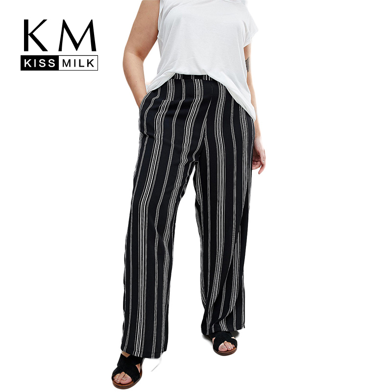 Kissmilk Plus Size Women Striped Color Block Elastic High Waist   Wide     Leg     Pants   Casual Loose Autumn Two Side Pockets Trousers