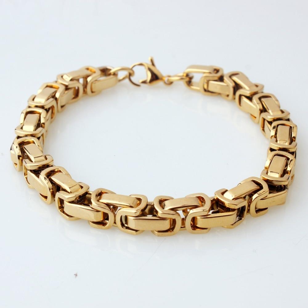 "MEN/'S 7/""-11/"" 5//6//8mm Silver-Gold Stainless Steel Byzantine Box Chain Bracelet"