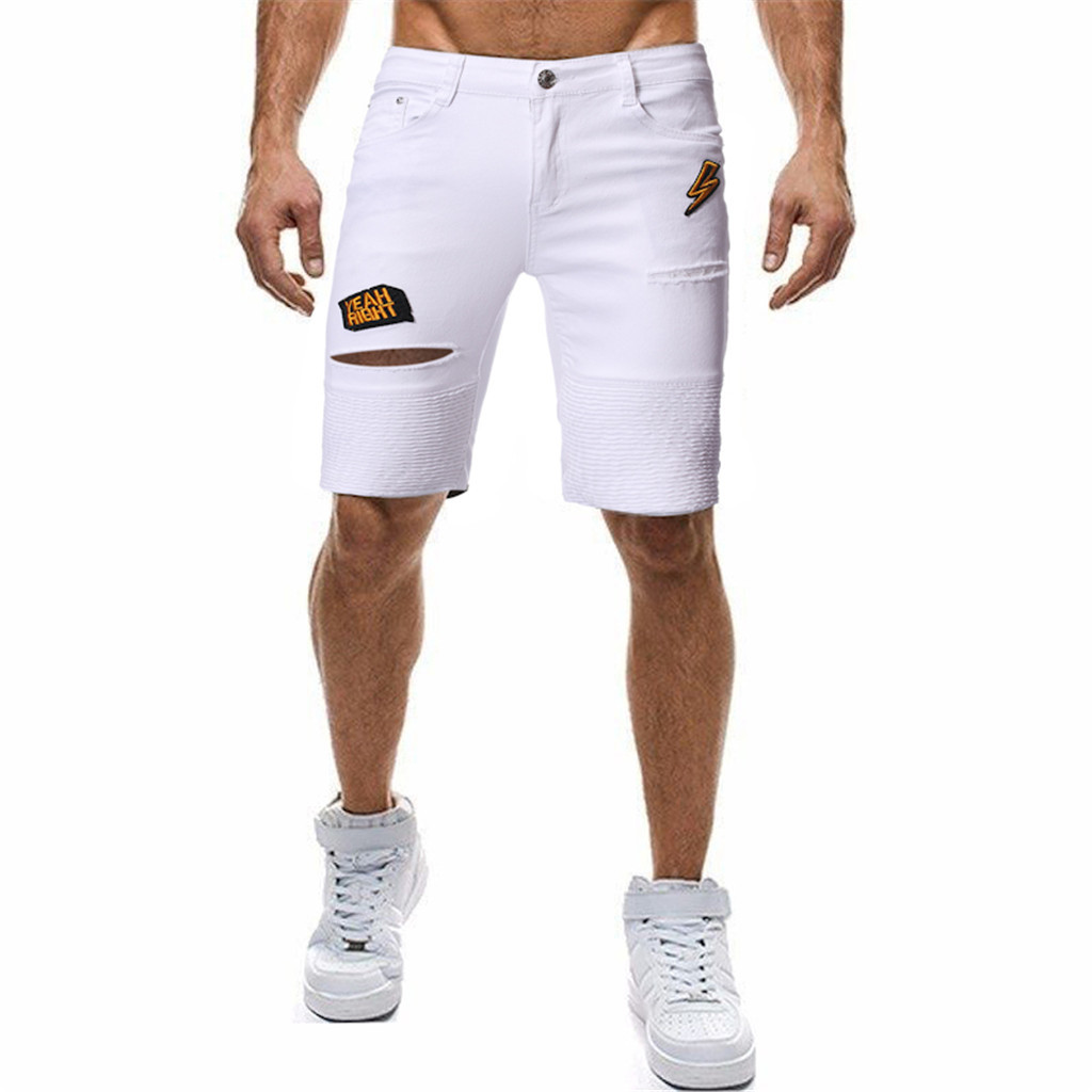 Men White Denim Shorts New Summer Men Holes Short Jeans Men Cotton Stretches Casual Denim Shorts