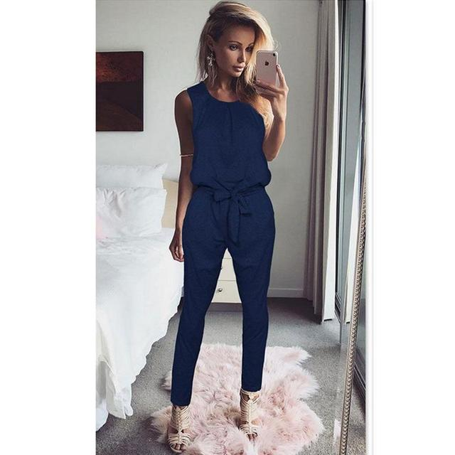 4781b201555 Summer Rompers Women S Jumpsuit Sexy Ladies Casual Elegant Sleeveless Long  Trousers Plus Size Overalls Playsuit WS949C