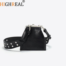 HIGHREAL New Crocodile Grain Mini  Bag Fashion Trend Stone Pattern Buckle Small Square Shoulder Bag Across Wild Ladies Dropship