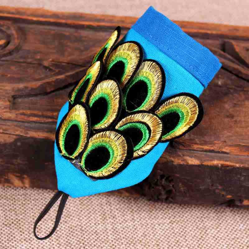 2019 Ethnic Wind Embroidery Peacock Feather Fingerless Gloves Fashion Joker Bracer Bracelet Dance Jewelry For Women 13