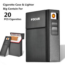 Detachable Cigarette Case With Lighter 20 Piece Cigarette Holder Tobacco Box USB Electronic Lighter Fancy Smoking