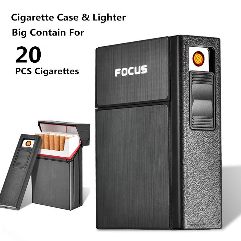Detachable Cigarette Case With Lighter For 20 Piece Cigarette font b USB b font Electronic Lighter