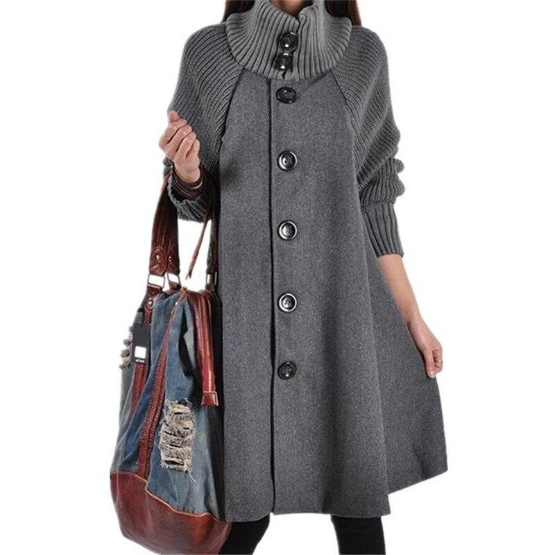 2019 Women's Woolen Coat Winter Long Collar Collar Large Size Loose Cape Jacket Ladies Fashion Cashmere Windbreaker Jacket A621