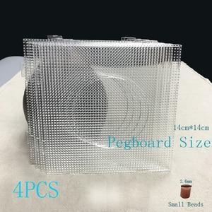 Image 1 - 4PCS 2.6mm Mini Hama Fuse Beads Transparent Big Square Pegboards Beads Boards DIY Material Template Perler Artkal Beads Pegboard
