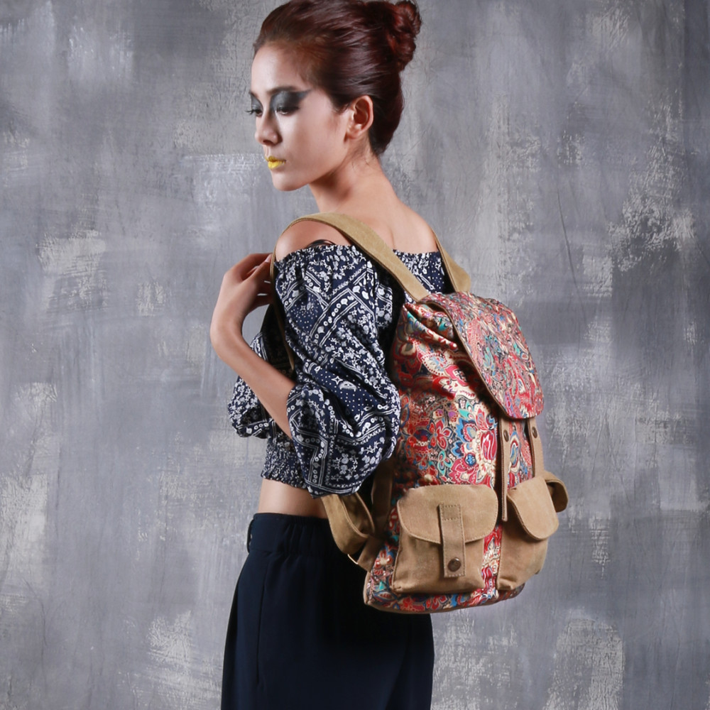 Canvas Backpack for women Ladies Daypacks New cute oxford big Bag 2019 Female Travel drawstring Backpack women luxury brand bags in Backpacks from Luggage Bags