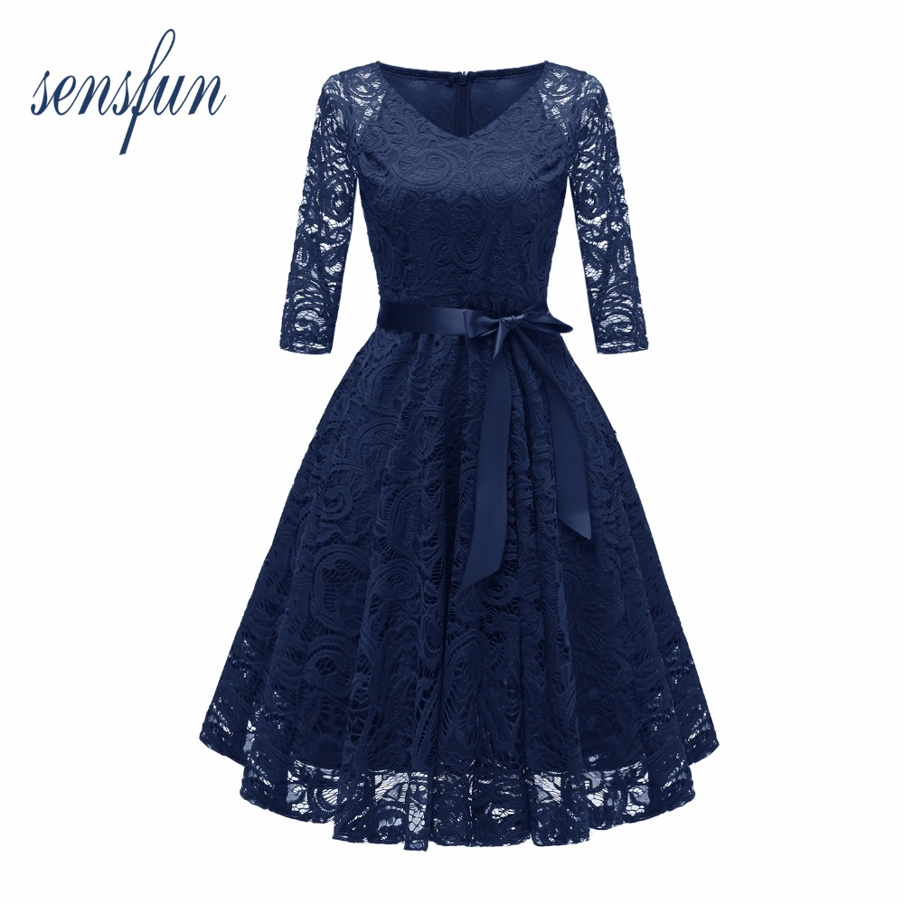 Sensfun Summer Dress Burgundy Lace Dress Women Vintage Dress Vestidos With Belt Long Sleeve Audrey Hepburn Robe Retro Rockabiliy