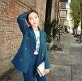 2016 Весенняя Мода Досуга Корейский Простой Двубортный Двух Частей Свободные Женщина все матч прекрасный костюм