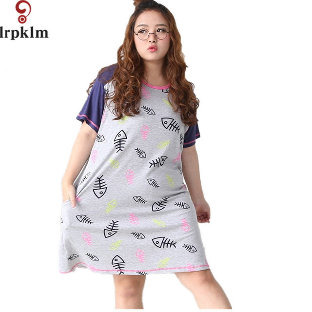 Sexy Nightgown Fish Bones Print Cotton Night Gown Sleep ... - photo#13
