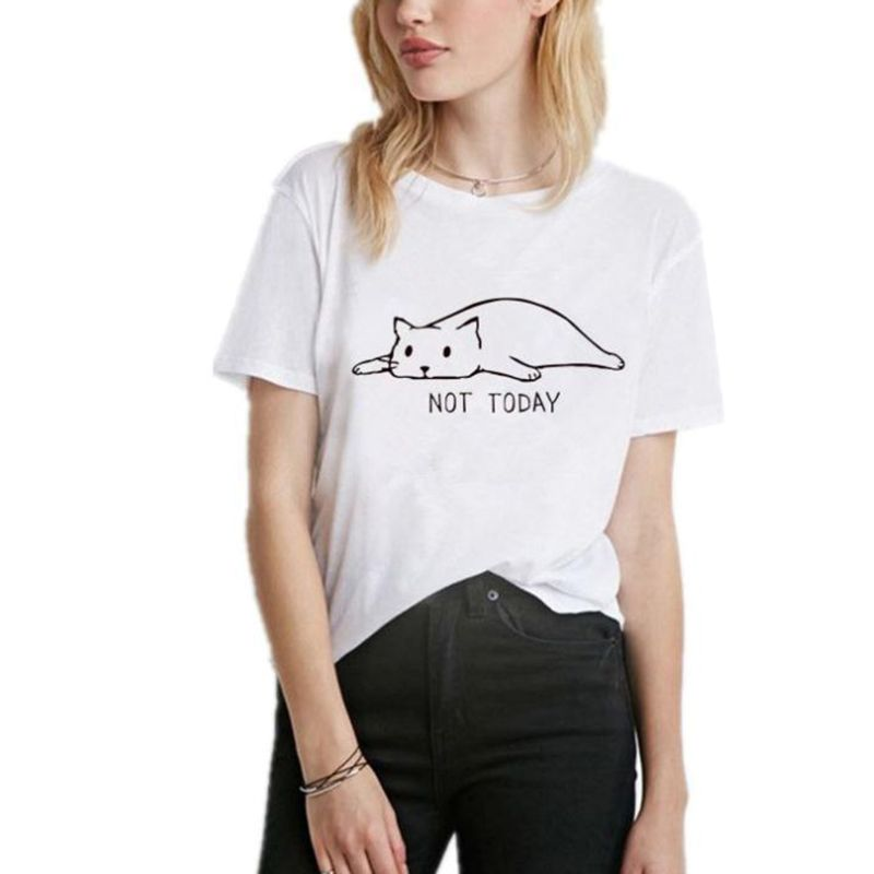 2019 New Sleeping Lazy Cat Print Women T-Shirt Summer Short Sleeve Funny Tee Female Casual Hipster Popular Loose Pullover Tops 1