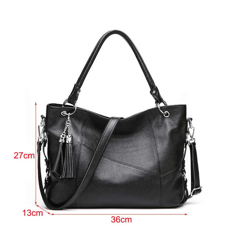 100% yumuşak hakiki deri çanta çanta kadın ünlü marka moda omuzdan askili çanta siyah deri çanta hobo bayan el çantası 2019