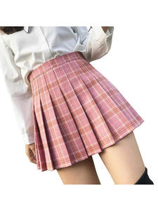 Women Skirt Stitching Girls Preppy-Style High-Waist Cute Sweet Student Chic Pleated