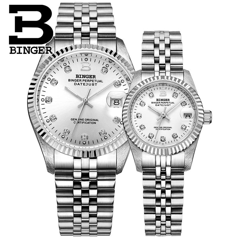 Suisse BINGER montre hommes femmes automatique mécanique hommes montres de luxe marque saphir reloj hombre montre bracelet-in Montres couple from Montres    1