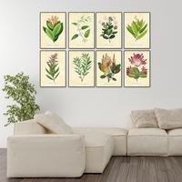 Vintage Green Leaves And Floral Watercolor Style Art Prints 8 In 1 Botanical Wall Art Plant