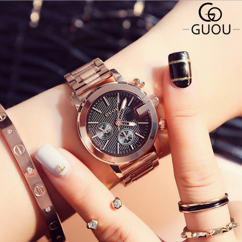 Top Brand GUOU Rose Gold Wrist Watch Women Watches Fashion Women's Watches Ladies Watch Clock saat reloj mujer relogio feminino relogio feminino casima women watches fashion waterproof leather diamond ladies quartz wrist watch clock saat 2018 reloj mujer