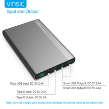 VINSIC VSPB304 for iphone 4 5 6 7 Ultra Slim Power Bank 20000 mAh with TYPE-C Interface Portable Charger External Battery Pack