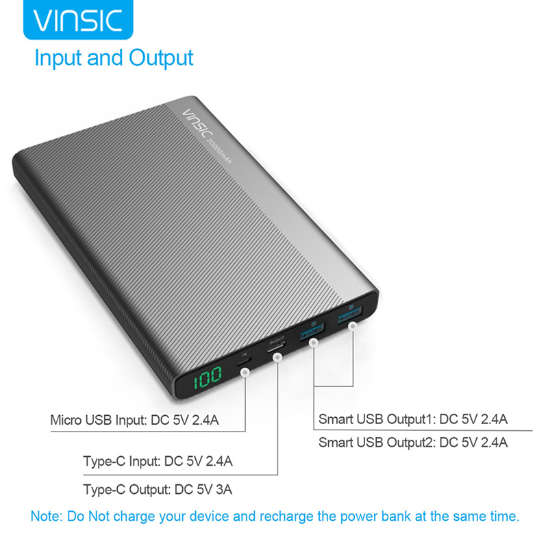 VINSIC VSPB304 pour iphone 4 5 6 7 Ultra batterie de secours extra plate 20000 mAh avec TYPE-C Interface Chargeur Portable Batterie Externe