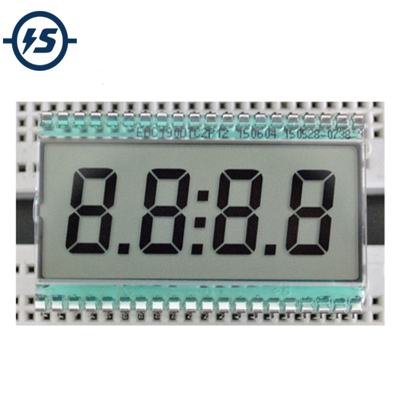 EDC190 4 Digit 7 Segment LCD Display Digital Clock Tube Static Driving 3V 50.8x30.48x2.8mm Semitransparent TN Positive Display