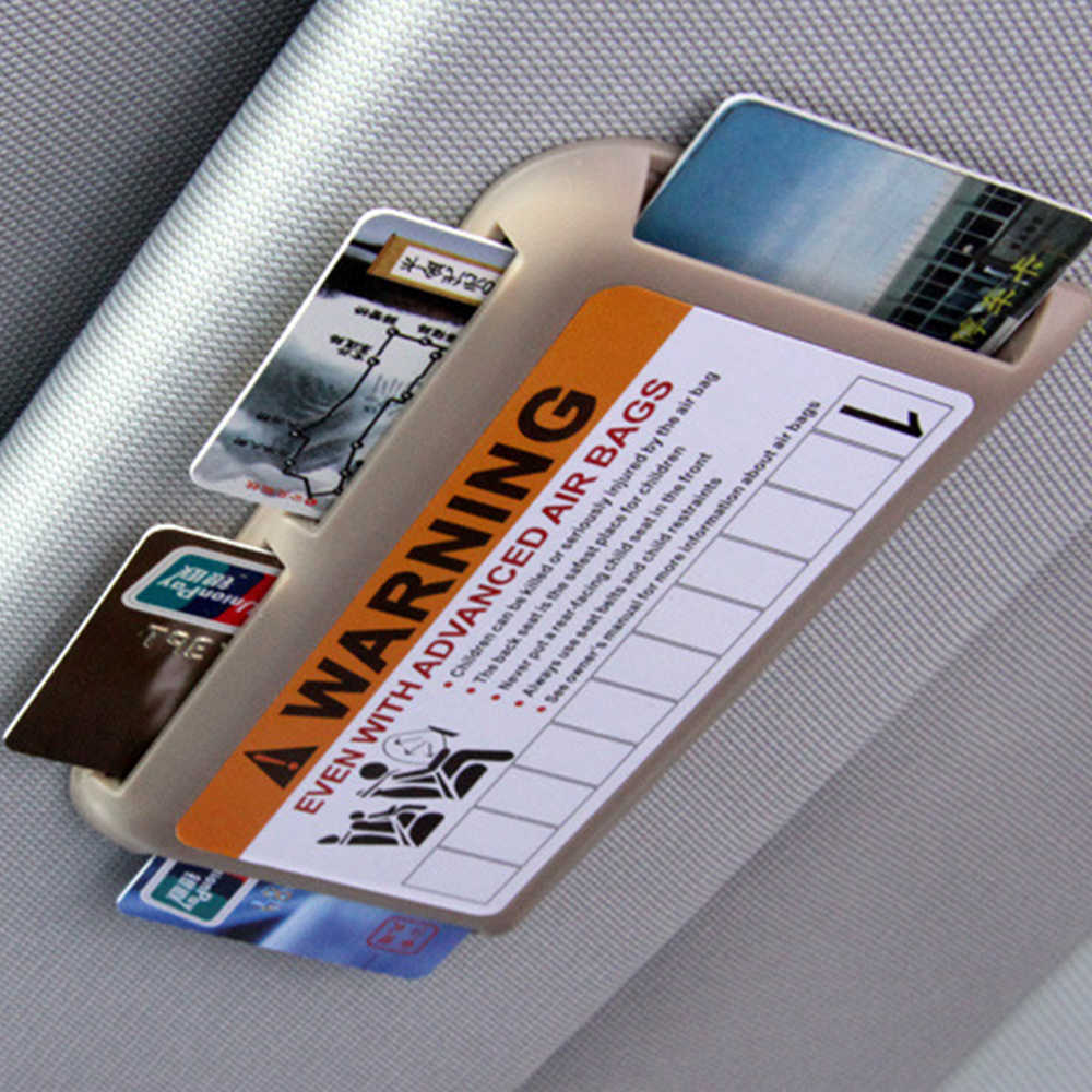 EAFC Car Storage Supply Stickers Sun Visor Organizer Card Holder Slot Plate Holder Warning Decoration Parking Card Car-styling