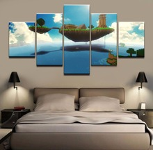 HD Print Canvas Printed Game City of sky Minecraft Modern 5 Pieces Poster Painting Wall Art Living Room Artwork