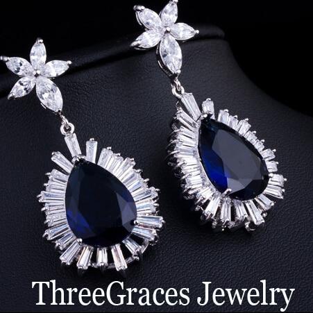 Threegraces Luxury Cubic Zirconia Bridal Wedding Jewelry Long Water Drop Dark Blue Crystal Earrings For Women Er033 In From
