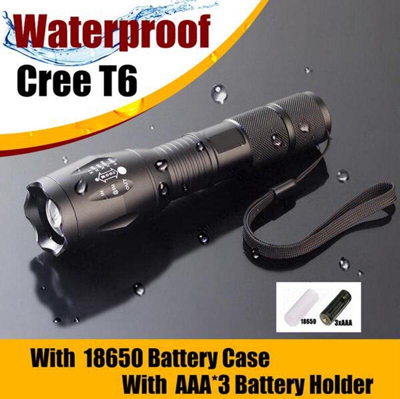 США 3800 люмен E17 CREE xm-l T6 светодиодная вспышка света Водонепроницаемый зум, LED стороны лампы для 3 * AAA или 1*18650 распродажа