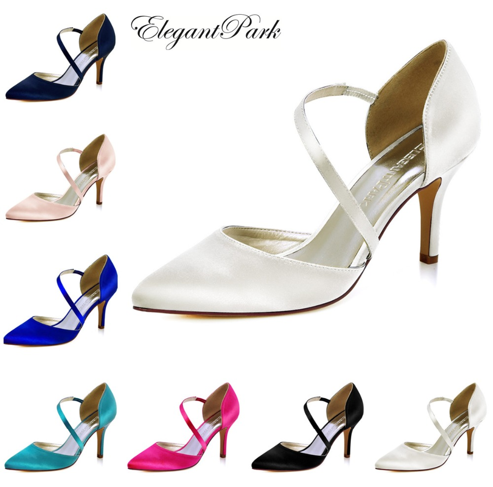 Women Pointed Toe High Heels Shoes Ankle Strap Bridal Wedding Shoes Woman Ladies Bridesmaids Satin Ivory