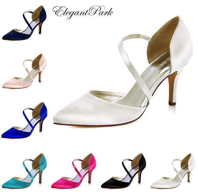 1400140addff HC1711-NW Women s shoes wedding bridal high heel Ivory blush pink pointy  strap satin lady female bridesmaids evening party pumps