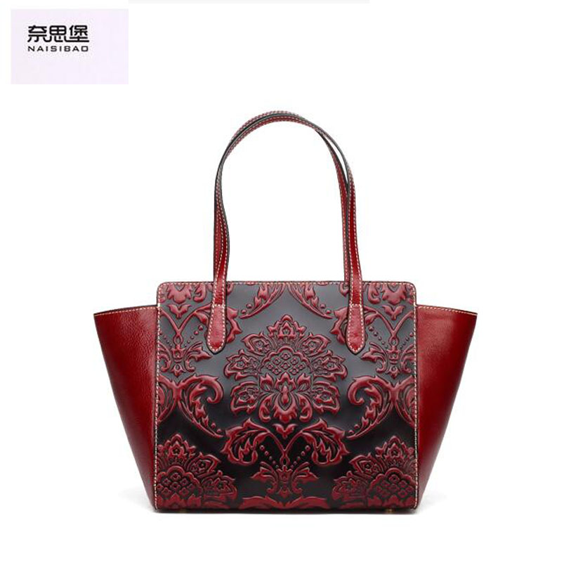 2016 New women genuine leather bag fashion chinese style top quality cowhide embossing women leather handbags shoulder bag