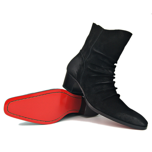 official photos 82bf7 43f6c US $80.99 19% OFF|Red Bottom Shoes Genuine Cow Leather Suede high heel Men  Boots high top Zipper fashion British style men's Chelsea Pleated Boots-in  ...