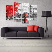 Wall Art Black White and Red Umbrella Couple in Street Painting Printed on Canvas Romantic Picture Artwork Prints(China)
